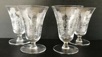 Vintage Morgantown Mayfair Etched Crystal Elegant Glass Juice Glasses Set Of 4