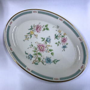 Vintage Lenox Morning Blossom Oval Serving Platter Pink Blue Flowers