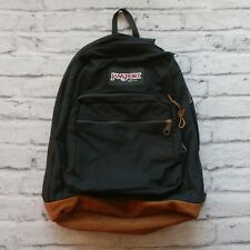Vintage 90s Jansport Leather Backpack Day Pack Made in USA
