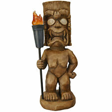 Moonrays Outdoor 18.5 Inch Tall Tiki Warrior Lawn Statue with Solar LED Light