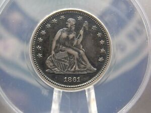 "1861 ""P"" Seated Liberty Quarter 25c ANACS EF40 Details XF ECC&C, Inc."
