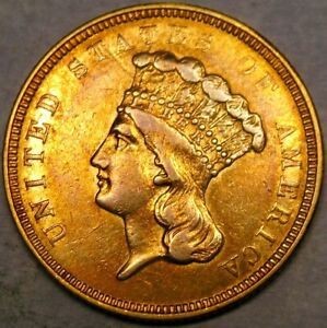 1854 O LIBERTY HEAD $3 GOLD PIECE VERY RARE ONLY 24,000 STRUCK PCGS AU 55 DETAIL
