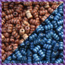 100 Perles Legno Tubo 2 coloris Marrone Scurire / Blu Marino