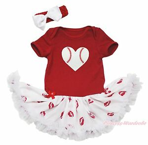 Valentine Baseball Heart Red Bodysuit Girls Lip Baby Dress Skirt Outfit NB-18M