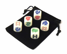 Set of 5 Rounded Corner 16mm Poker Dice with Black Velveteen Dice Bag