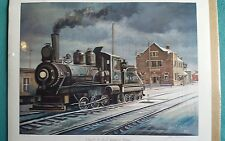 ''OLD M & ST. L DEPOT IN WINTER'' LOCOMOTIVE JOHN C. GREEN PRINT NUMBERED SIGNED