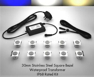 10 x 30mm LED Square Lights Deck/Decking/Plinth/Kickboard/Recessed - 3 Colours