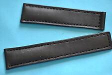 Bracelet en cuir de veau 20mm noir particulier pour BREITLING fermoir dépliant