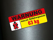 1 x Autocollant Côté passager poids 63kg des autocollants sticker Fun gag tuning shocker
