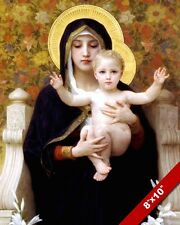 VIRGIN MARY & JESUS CHRIST CHILD OIL PAINTING ART GICLEE PRINT ON REAL CANVAS