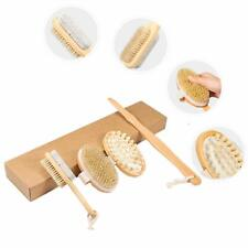 Dry Brushing Body Brush Set,100% Soft Natural Bristle Long Wooden Handle Back