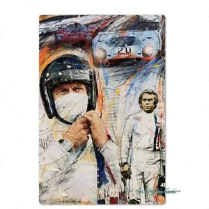PLAQUE EN METAL FILM LE MANS STEEVE MCQUEEN   30 X 20 CM