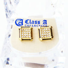 Or Bling Iced Out Clou d'oreille - PAVE SQUARE