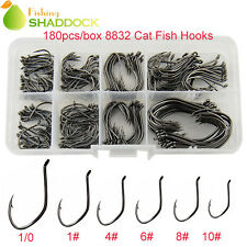 180pcs 8832 Catfish Hooks Sharpened Sport Circle Black Fishing Hook Size 10#-1/0