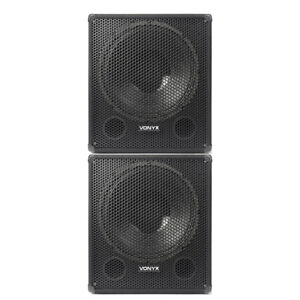 """Pair of Bass Subwoofer DJ PA Speaker Subs 18"""" Woofer 1000W Low Pass Filters"""