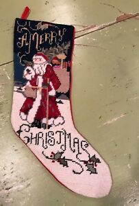 Needlepoint Christmas Stocking Merry Christmas Santa
