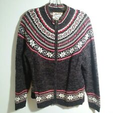 Heirloom Collectibles Size L Fair Isle Style Full Zip Sweater Brown Red e