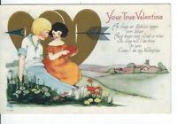 CH-079 YourTrue Valentine, Children Arrow Heart Divided Back Postcard