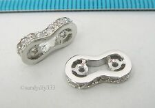 2x RHODIUM plated STERLING SILVER CZ SEPARATOR SPACER 6mm BEAD 2-STRAND #2483