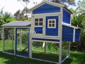 Chicken Coop Cat Enclosure Rabbit Hutch Wooden Somerzby Blue Mansion