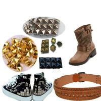 100pcs Metal Square Pyramid Rivet Stud For Clothes Shoes Bags Craft Supplies