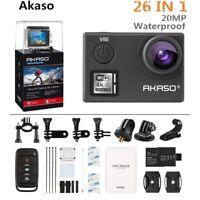 AKASO V50 4K Ultra HD 20MP WiFi Action Camera Waterproof w/ EIS DVR Camcorder UK