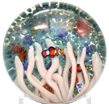 RARE Beautiful JESSE * TAJ * KAROLCZUK Clown FISH AQUARIUM Art Glass PAPERWEIGHT