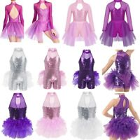 Girls Ballet Dance Dress Kids Modern Latin Gym Shiny Leotard Tutu Skirt Costume