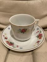 "Vintage Chinese Demitasse Floral Tea 2"" Cup and Saucer Gold Trim"