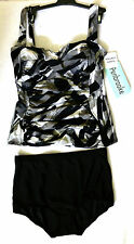 Penbrooke Tankini Set Size 14 Black with print