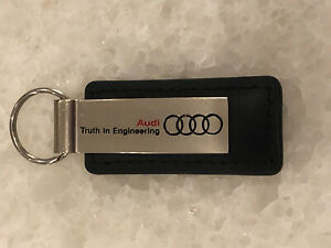 OEM Genuine Audi Brushed Silver Keyring Key Chain Leather Stainless