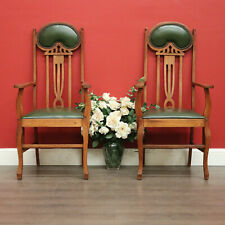 Pair of Antique English Oak Carvers Chairs, Green Leather Art Nouveau Hall Chair