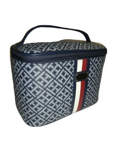 TOMMY HILFIGER TH Signature Zip Cosmetic Bag Navy/Gray W/Silver Logo & Stripes.