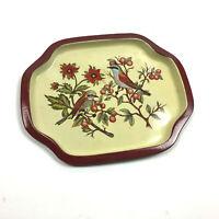 "Vtg Small Tray Metal Tin Trinkets Serving Birds Berries Flowers 8"" x 6"""