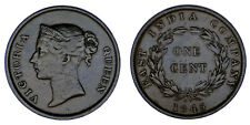 1 Copper CENT-1 Cent Copper Straits Settlements. 1845. Victoria. VF+/Dinner + .