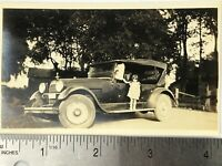 Vintage Old 1920 Young Girl Standing On Antique Citroen Car Automobile