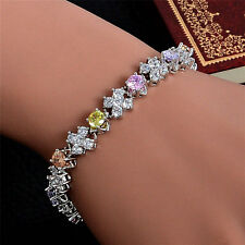 "Women's Shiny Silver -  Multi Colored CZ - 6.75"" - Tennis Bracelet - Gift Boxed"