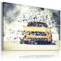 FORD MUSTANG YELLOW  Sports Cars Wall Art Canvas Picture  AU822 UNFRAMED-ROLLED