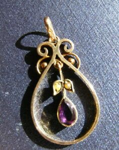 Antique/Vintage Victorian  9ct.Rose Gold Seed Pearls Amethyst Pendant Necklace.