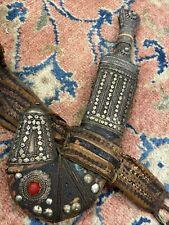 Antique Ornate Silver Saudi Arabian Bedouin Jambia Knife Dagger w/ Scabbard Belt