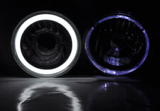 "7"" Round Halogen H4 CCFL Halo Glass Headlight Conversion w/ Bulbs Pair Plymouth"