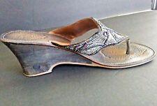 Matisse Womens Multi Colored Beaded- Blue Thong Wedge BoHo Sandals  Sz 11