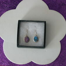 Elegant Silver Earrings With Druzi Gems 5.8 Gr. 1.7 Cm. Long + Hooks In Gift Box