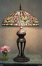 "Tiffany Style Handcrafted Stained Glass Emperor Table Lamp 18"" Shade"
