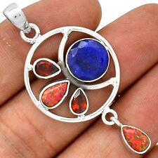 Sapphire, Fire Opal & Garnet 925 Sterling Silver Pendant Jewelry PP22465