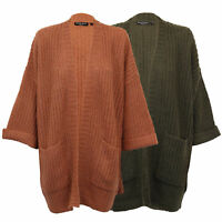 Ladies Knitted Cardigan Brave Soul Womens Open Front Batwing Sleeves Boyfriend