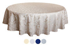 "Tektrum 70"" Round Damask Tablecloth-Waterproof/Spi ll Proof/Stain Resistant-Beige"