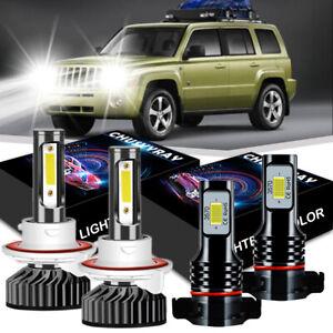 For Jeep Patriot Wrangler 2012-2017-White H13 LED Headlight Bulb+2504 Fog Light