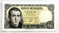Spain-Billete. Jaime Balmes. 5 Pesetas. 1951. SIN SERIE. Escaso. SC/UNC