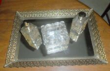 Vintage Filligree Vanity Set 4 Pcs. 2 Perfume Bottles Powder Dresser Box& Mirror